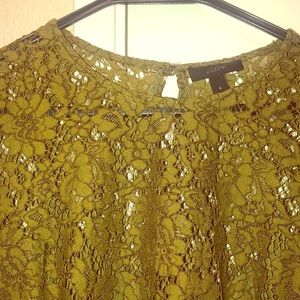J Crew Long Sleeve Green Lace Blouse